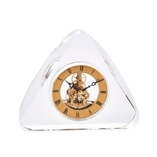 Sagebrook Home 13294 Clock In Crystal Triangle Base, Clear Crystal/Metal, 6.75 x 1.5 x 6 Inches