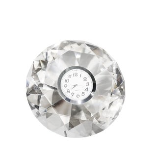 Sagebrook Home 13293-03 Clock In Crystal Diamond, Clear Crystal, 4.75 x 4.75 x 2.25 Inches