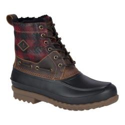 Men's Sperry Top-Sider Decoy Shearling Duck Boot Red Plaid/Black Full Grain Leather