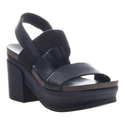Women's OTBT Indio Block Heel Slingback Sandal Black Leather/Polyurethane