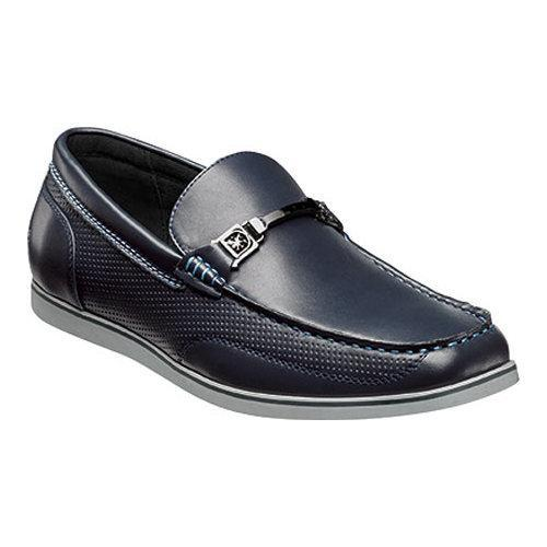 Men's Stacy Adams Chaz Moc Toe Bit Loafer 25042 Navy Synthetic