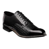 Men's Stacy Adams Madison Cap Toe Oxford 00070 Black Woven Print Kidskin Leather