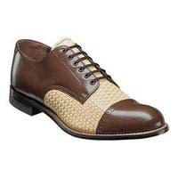 Men's Stacy Adams Madison Cap Toe Oxford 00070 Brown Multi Woven Print Kidskin Leather
