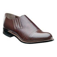 Men's Stacy Adams Madison Cap Toe Slip On 00067 Brown Leather