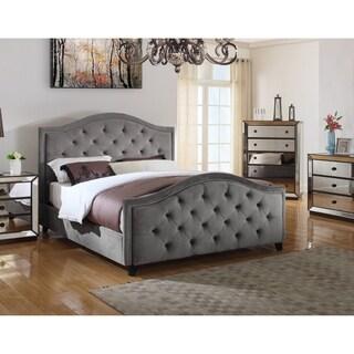Best Master Furniture Grey Velvet Upholstered Bed