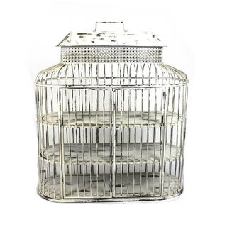 Sagebrook Home 11022 Metal Birdcage, Distressed White Metal, 31.5 x 12 x 36 Inches