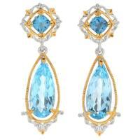 Michael Valitutti Palladium Silver London Blue and Sky Blue Topaz Drop Earrings