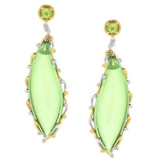 Michael Valitutti Palladium Silver Green Amber and Peridot Dangle Earrings