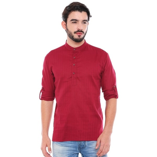 In-Sattva Mens Mandarin Collar Henley Style Short Fitted Kurta Tunic
