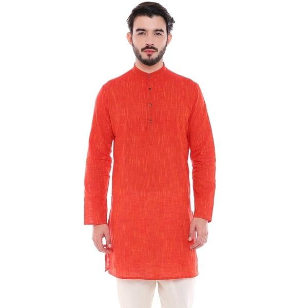 In-Sattva Mens Indian Classic Pure Cotton Kurta Tunic with Mandarin Collar