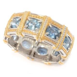 Michael Valitutti Palladium Silver Ceylon Blue Sapphire Eternity Band Ring