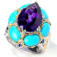 Michael Valitutti Palladium Silver Amethyst, Sleeping Beauty Turquoise & Blue Sapphire Ring