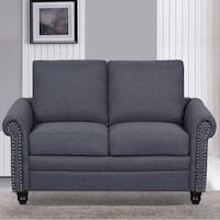 Dove Linen Upholstered Modern Loveseat