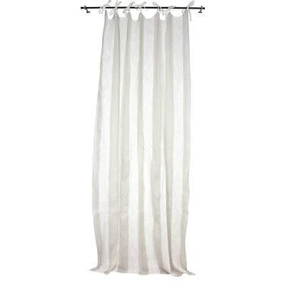 Sagebrook Home TC10292-01 Linen Striped Curtain Panel, Ecru/Linen Linen, 55 x 102 Inches