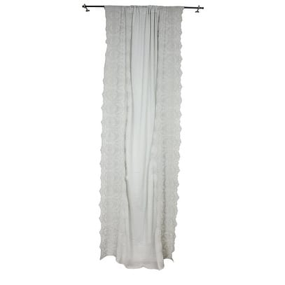 Sagebrook Home TC10293-01 Cotton Side Embroidered Curtain Panel, Gray Cotton, 55 x 102 Inches