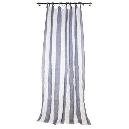 Sagebrook Home TC10292-02 Linen Striped Curtain Panel, Ecru/Blue Linen,55 x 102 Inches