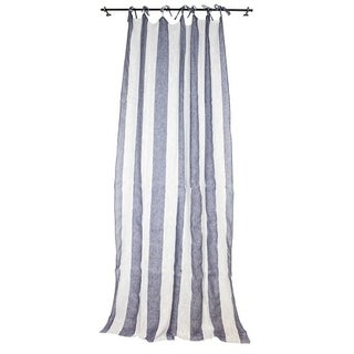 Sagebrook Home TC10292-02 Linen Striped Curtain Panel, Ecru/Blue Linen,55 x 102 Inches