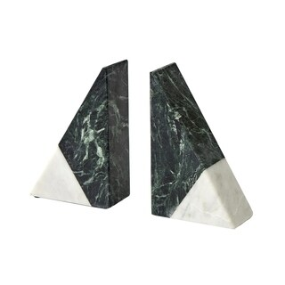 Sagebrook Home 13643 Decorative Wedge Marble Bookends,White/Green Marble, 4 x 2 x 6.25 Inches (Set of 2)