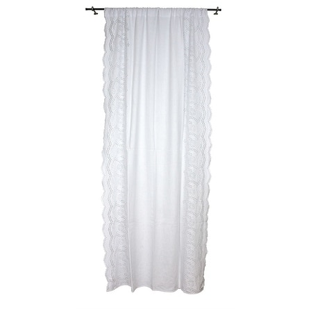 Sagebrook Home TC10296-01 Linen Eyelet Emb Curtain Panel, White Linen, 55 x 102 Inches