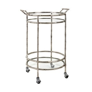 Haylan Sliver Glass Shelves Bar Cart