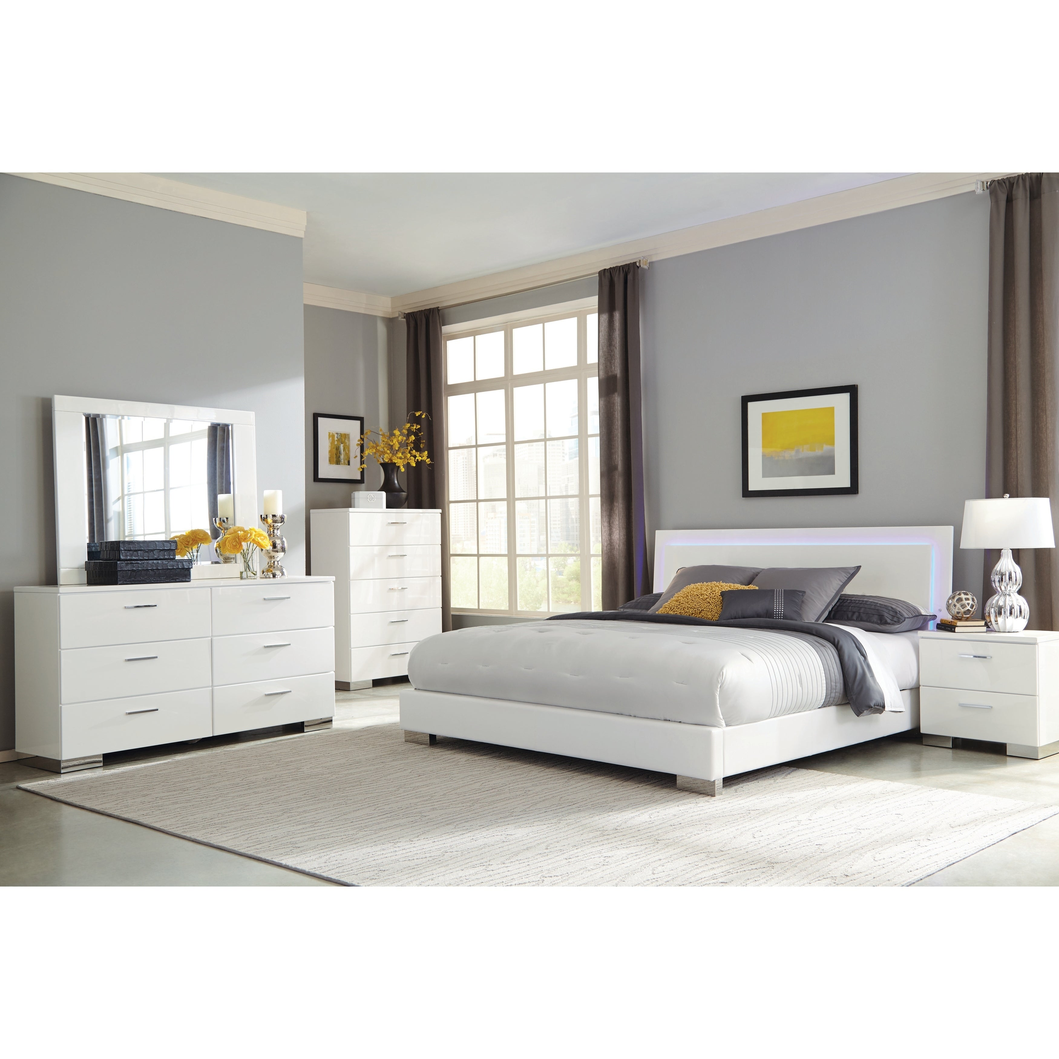 Oliver & James Alice White 4-piece Bedroom Set with LED Headboard