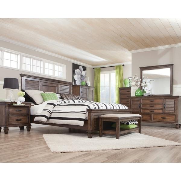 Franco Burnished Oak 5-piece Bedroom Set