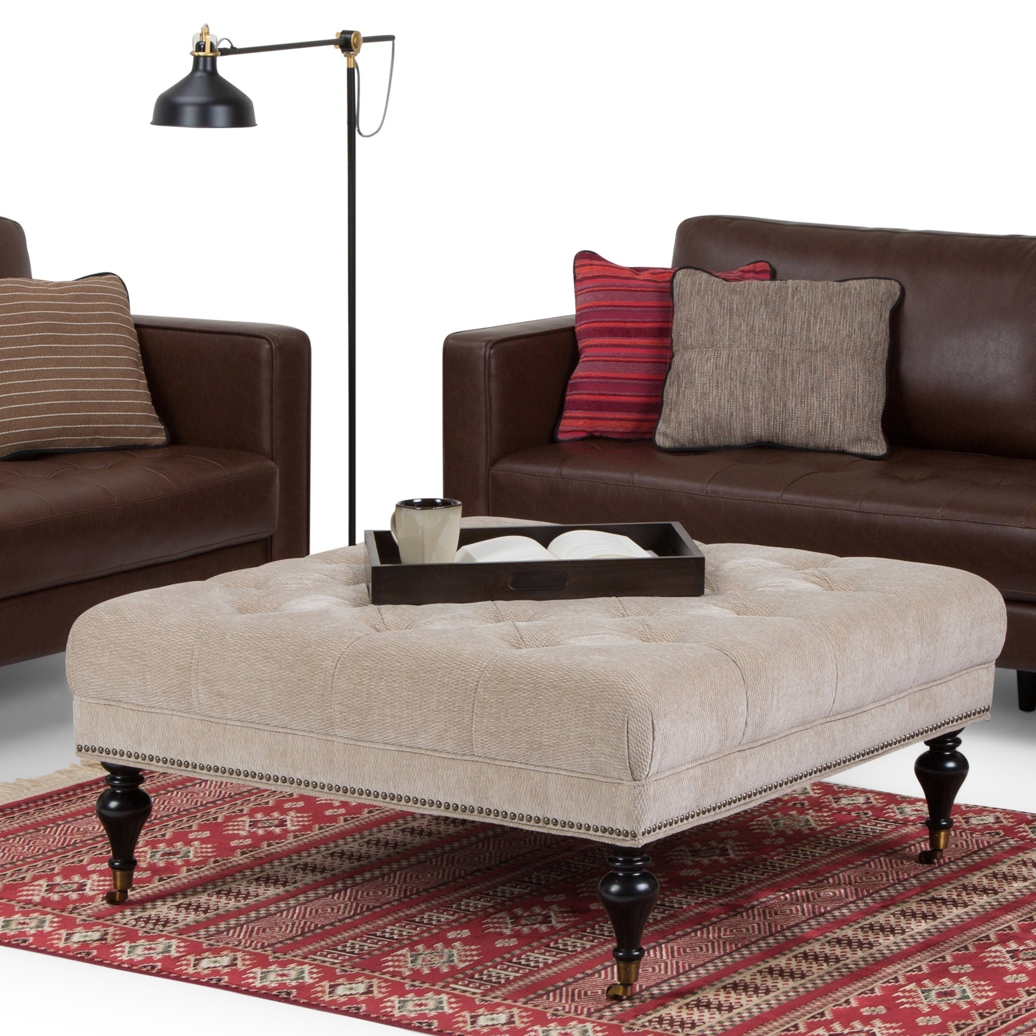 Wyndenhall Marcel Large Square Coffee Table Ottoman Large For Sale