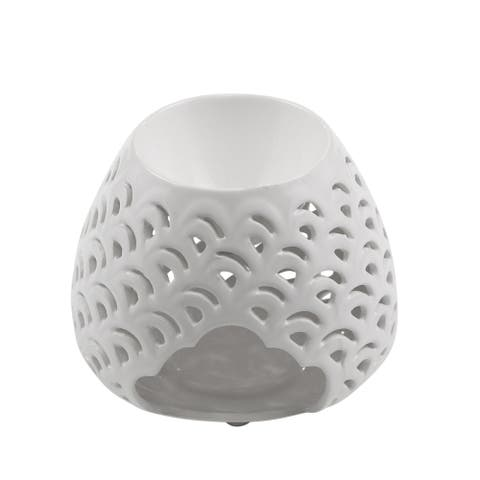 Sagebrook Home 13063-06 Decorative Double Wave Bulb Oil Burner, White Ceramic, 5 x 5 x 4 Inches