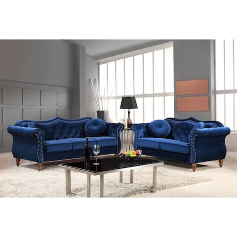 Gracewood Hollow Mantel Nailhead Chesterfield Upholstered 2-piece Living Room Set