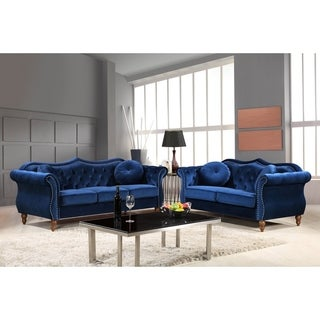 Carbon Classic Nailhead Chesterfield Upholstered 2 Piece Living Room Set