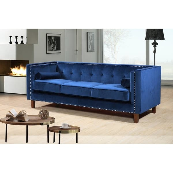 Kittleson Classic Upholstered Nailhead Chesterfield 2 Piece Living Room Set Blue On Sale Overstock 21405730