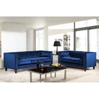 Kittleson Classic Upholstered Nailhead Chesterfield 2 Piece Living Room Set - Blue