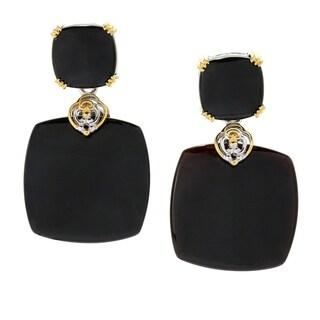 Michael Valitutti Palladium Silver Black Onyx Drop Earrings