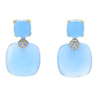 Michael Valitutti Palladium Silver Aqua Blue Chalcedony Drop Earrings