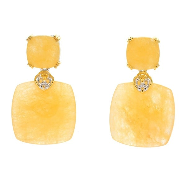 Michael Valitutti Palladium Silver Yellow Chalcedony Drop Earrings