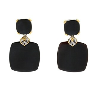 Michael Valitutti Palladium Silver Black Mother of Pearl Drop Earrings