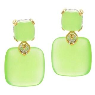 Michael Valitutti Palladium Silver Lime Chalcedony Drop Earrings - Green