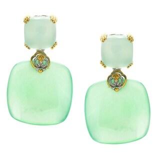 Michael Valitutti Palladium Silver SeaFoam Chalcedony Drop Earrings - Green