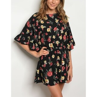 JED Women's Frilly Dolman Sleeve Floral Black Romper