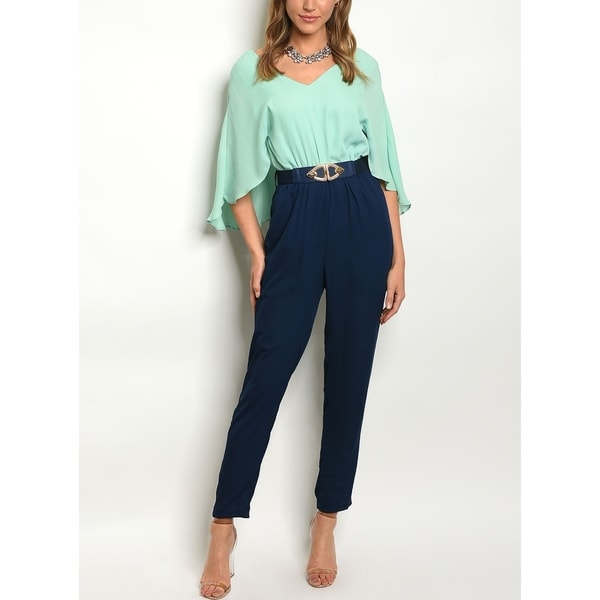 Shop Jed Womens Mint Navy Cape Jumpsuit On Sale Free Shipping