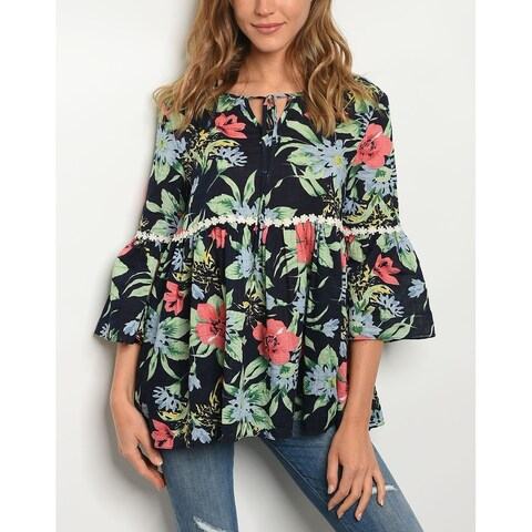 JED Women's Relax Fit Babydoll Navy Floral Blouse
