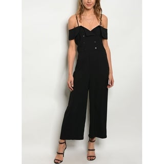 JED Women's Off-Shoulder Adjustable Straps Black Jumpsuit