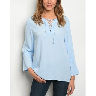 JED Women's Lace-Up Bell Sleeve Light Blue Top