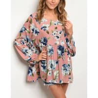 JED Women's Loose Fit Long Sleeve Floral Blush Top