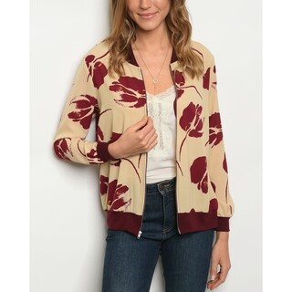 JED Women's Cream & Burgundy Light Bomber Jacket