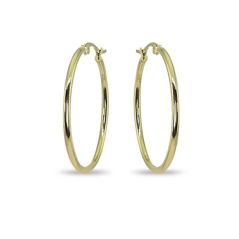 Mondevio 2x35mm Medium Round Stainless Steel Hoop Earrings - Silver