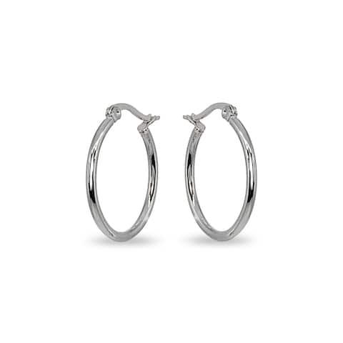 Mondevio 2x25mm Small Round Stainless Steel Hoop Earrings - Silver
