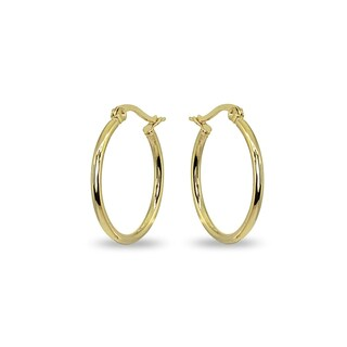 Mondevio 2x25mm Small Round Stainless Steel Hoop Earrings - Silver