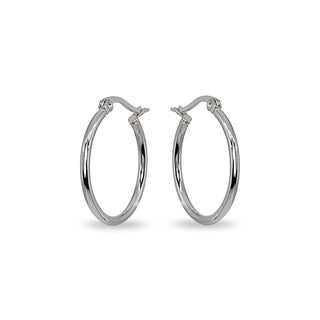 Link to Mondevio 2x25mm Small Round Stainless Steel Hoop Earrings - Silver Similar Items in Earrings