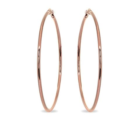Mondevio 2x60mm Extra Large Round Stainless Steel Hoop Earrings - Silver